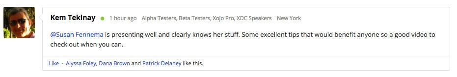Xojo Forum Comment 2